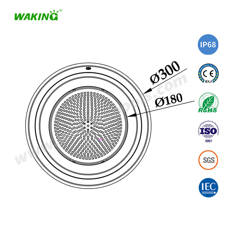 300mm stainless 316 304 single color rgb led pool light